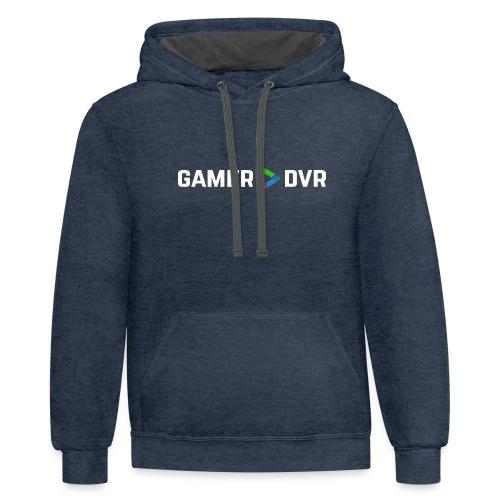 Gamer DVR Banner White - Unisex Contrast Hoodie