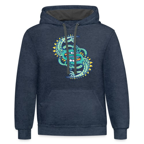 Two brave lizards facing off in a dangerous combat - Unisex Contrast Hoodie