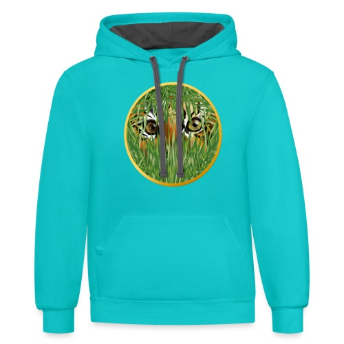 Tiger In The Grass - Contrast Hoodie