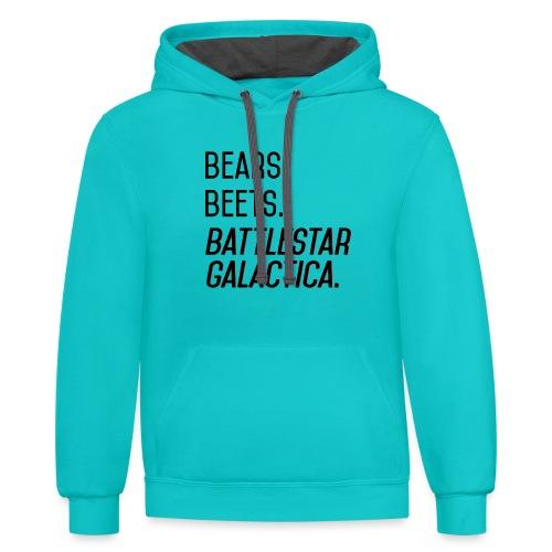 Bears. Beets. Battlestar Galactica. (Black & Red) - Unisex Contrast Hoodie