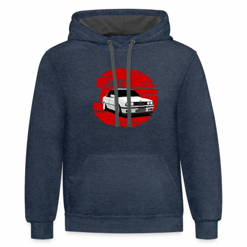 Bimmer e30 red background - Contrast Hoodie