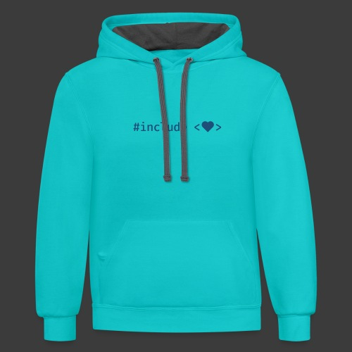 Blue Include Heart - Contrast Hoodie