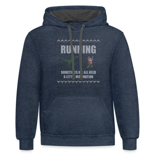 Ugly Christmas Sweater Running Dino and Santa - Contrast Hoodie