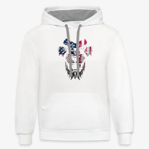American Flag Lion Shirt - Contrast Hoodie