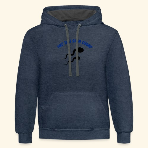 Adult Fathers day swim champ - Contrast Hoodie