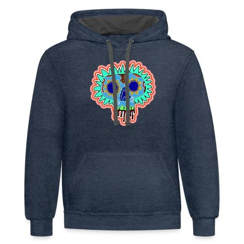 Hippy Día de Muertos - Unisex Contrast Hoodie