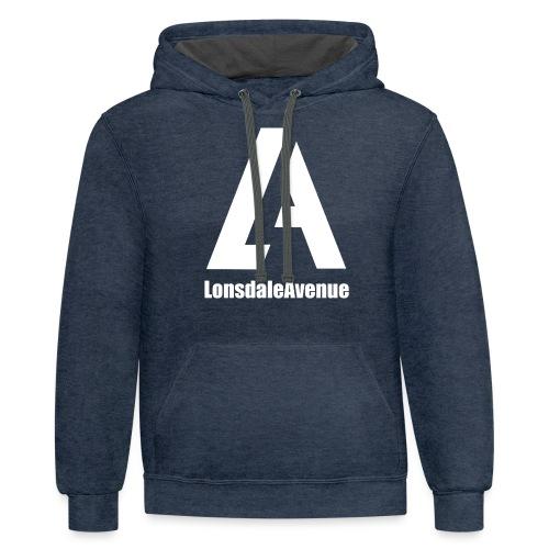 Lonsdale Avenue Logo White Text - Unisex Contrast Hoodie