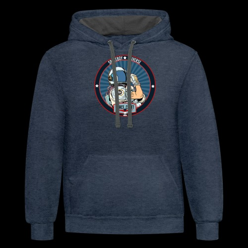Space Cadet Can Do Badge - Contrast Hoodie
