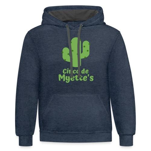 Cinco de Myette's Cactus Design - Unisex Contrast Hoodie