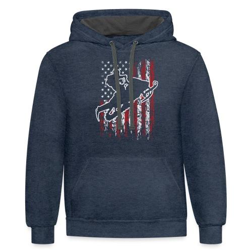 Snowmobiling USA Flag - Contrast Hoodie