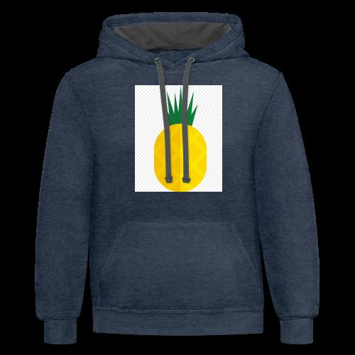 Pixel looking Pineapple - Contrast Hoodie