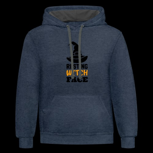 Resting Witch Face | Funny Halloween - Contrast Hoodie