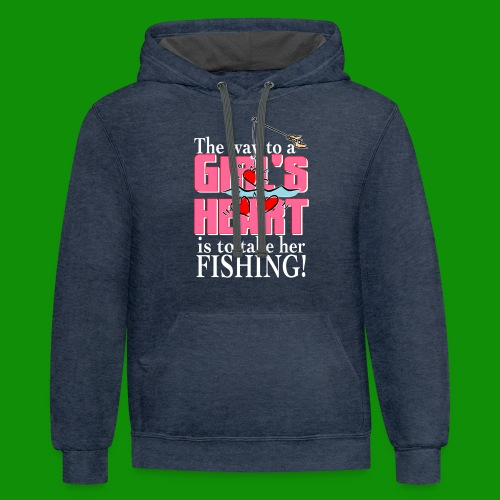 Fishing - Way to a Girl's Heart - Unisex Contrast Hoodie