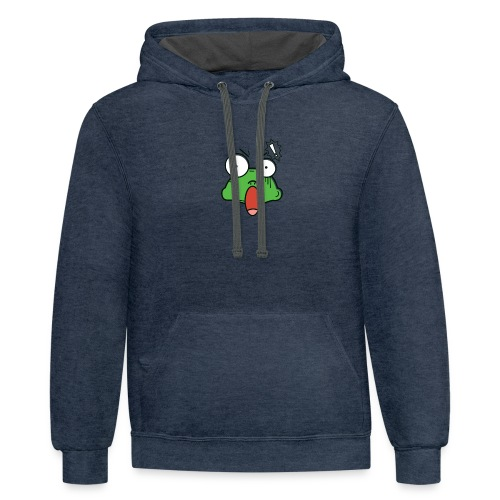 Frog with amazed face expression - Contrast Hoodie