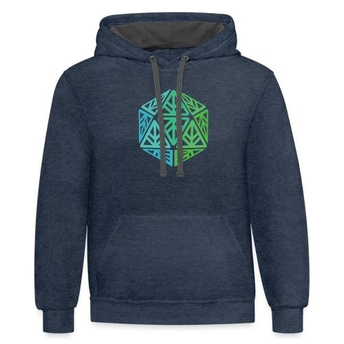 Green Leaf Geek Iconic Logo - Unisex Contrast Hoodie