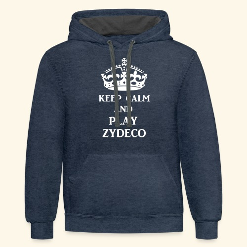 keep calm play zydeco wht - Unisex Contrast Hoodie