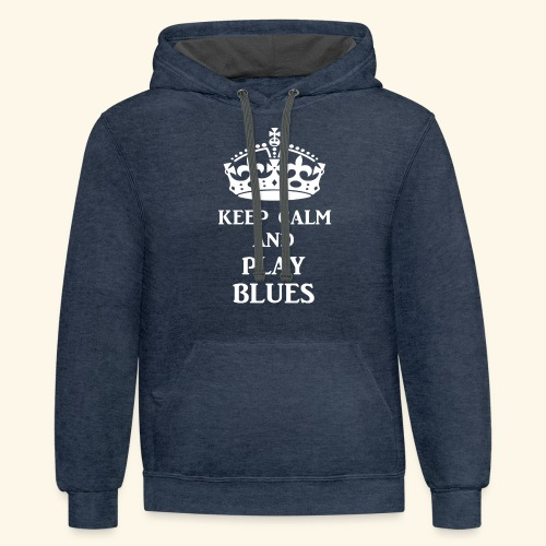 keep calm play blues wht - Unisex Contrast Hoodie