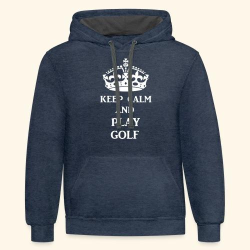 keep calm play golf wht - Unisex Contrast Hoodie