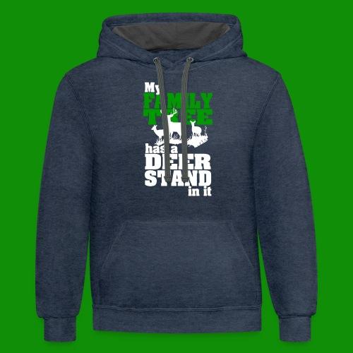 Deer Stand Family Tree - Unisex Contrast Hoodie