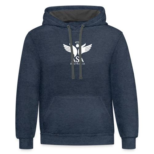 3459 Angelman Logo AUSTRALIA FA WHITE LR - Contrast Hoodie