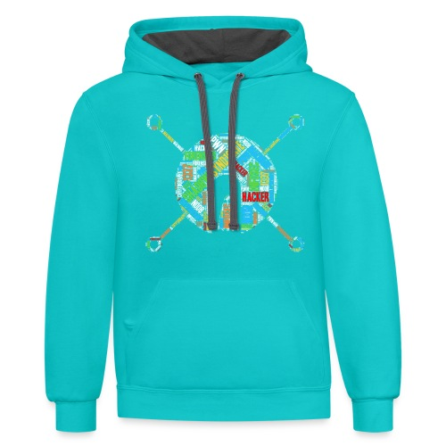 Shad0w Synd1cate Logo Word Cloud (Color) - Contrast Hoodie