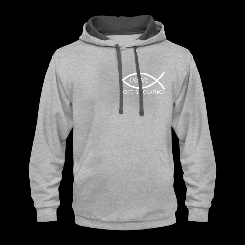 Ichthys Graphics Logo In White - Contrast Hoodie