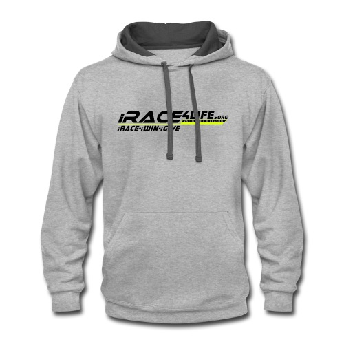 iRace4Life.org Logo with iRace-iWin-iGive! - Contrast Hoodie