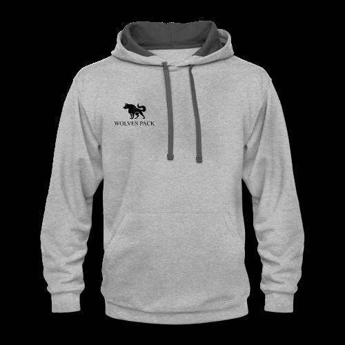 LOGO WOLF 1 black - Contrast Hoodie