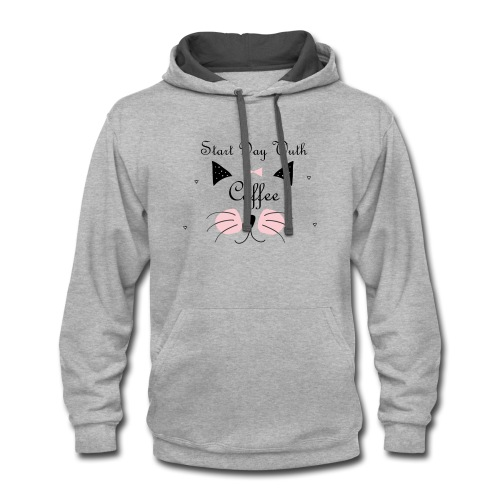 Start Day With Coffee - Contrast Hoodie