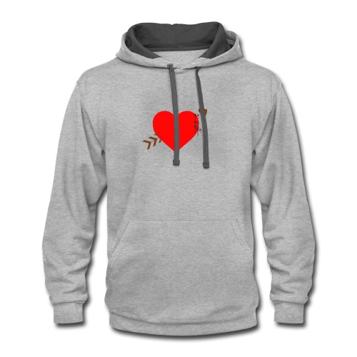 white color arrow shirt crossing a heart - Contrast Hoodie