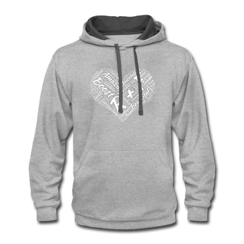 R+F White Heart - Contrast Hoodie