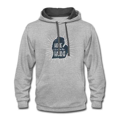 Michigan - Home Is Where the Hand Is - Contrast Hoodie