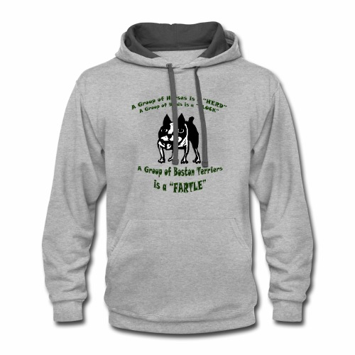 Boston Terrier Fartle - Green - Contrast Hoodie