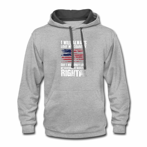 I Will Always Love My Country White - Contrast Hoodie