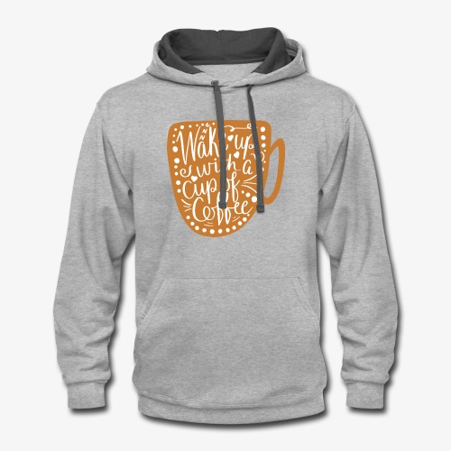 Coffee Cup with White Center - Contrast Hoodie