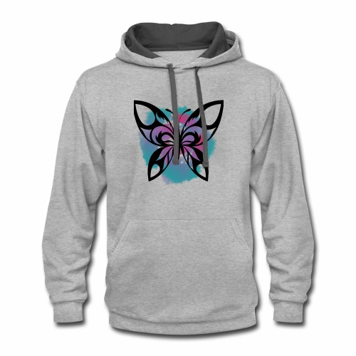 Watercolour Butterfly: A symbol of change - Contrast Hoodie
