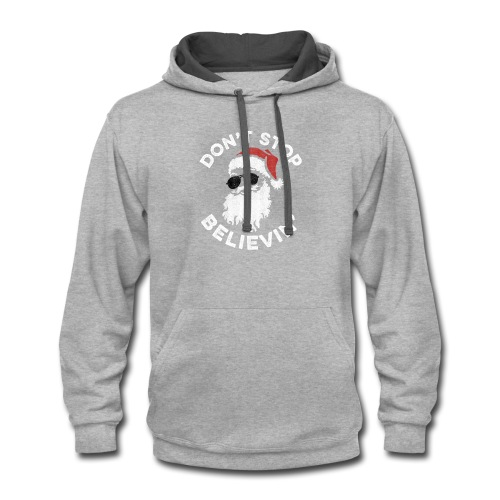 Don't Stop Believin' Cool Shades Santa - Contrast Hoodie