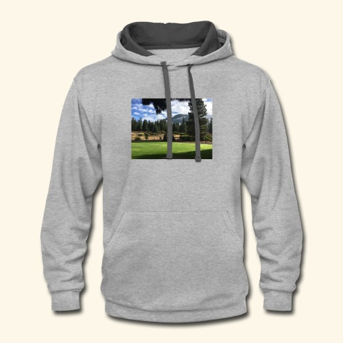 mountain scenery mount shasta pic - Contrast Hoodie