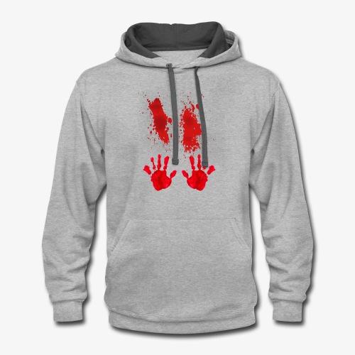 Bloody Hand Smear Halloween 2018 T-Shirt - Contrast Hoodie