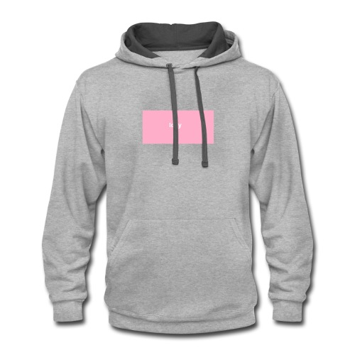 iddy in a pink box - Contrast Hoodie