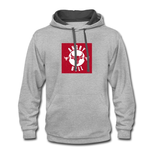 Angry Bull, red angry, grunge - Contrast Hoodie