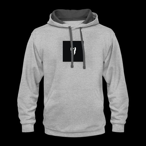 Small Black Box Divided Time Logo - Grey - Contrast Hoodie