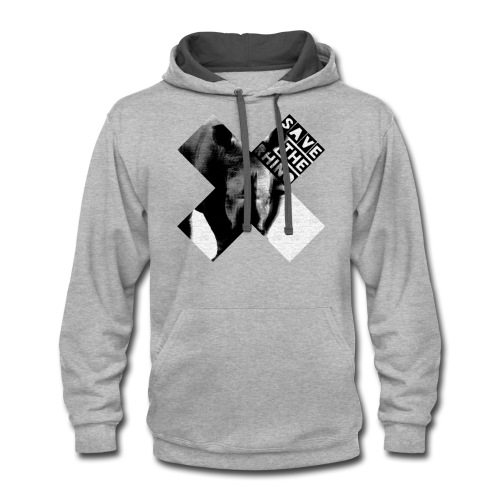 3D Save The Rhino (Black and White) - Contrast Hoodie