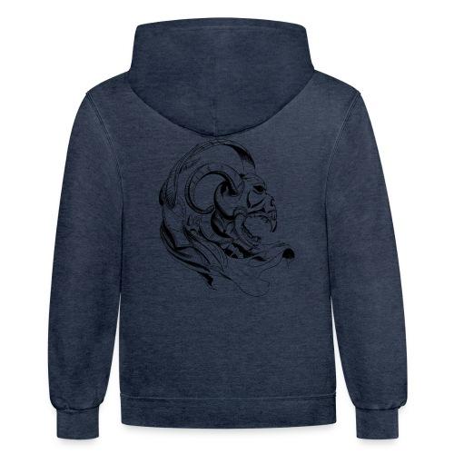demon skull - Contrast Hoodie