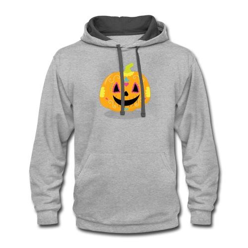 Halloween Funny skull zombie pumpkin Tee shirts - Contrast Hoodie