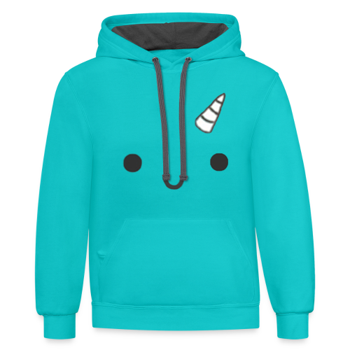narwhal face - Contrast Hoodie