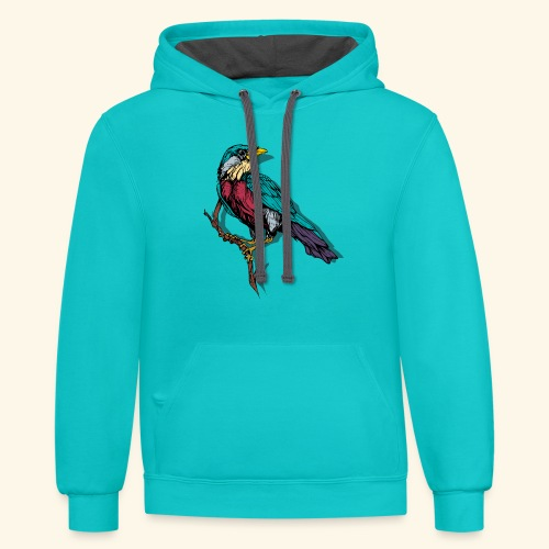 Colorful Bird Design - Contrast Hoodie