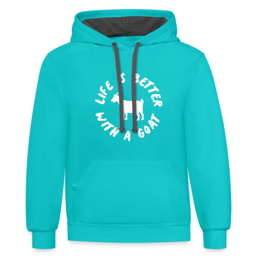 life is better with a goat - Contrast Hoodie