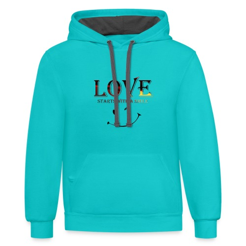 lOVE starts with a smille - Contrast Hoodie