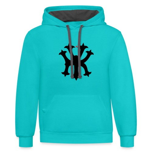 KREW YORK LOGO - BIG APPLE ALTERNATE DESIGN - RED - Contrast Hoodie